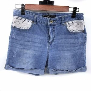 Cato Blue White Lace Crochet Cuffed Denim Shorts